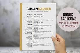 Bold Modern Word Resume Template Resume Templates Creative Market