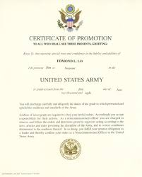 certificate of promotion template army promotion certificate template feedscast com