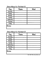 meal planning chart menu planning using themes time with thea