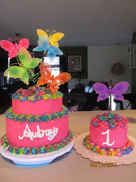 First Birthday Cake Ideas Cute Girl S First Birthday Butterfly Cake