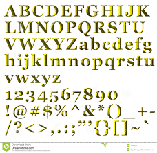 golden alphabetical letters numbers symbols