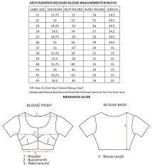 Readymade Blouse Size Chart Arch Elements Apparel Womens Designer Readymade Partywear