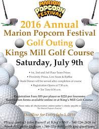 2016 Golf Outing Flyer Marion Popcorn Festival
