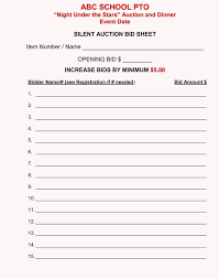 Silent Auction Bid Sheet Template Word Silent Auction Bid Sheet Template Excel Live Fantasy Football