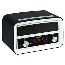 denver crb 619 black retro radio alarm clock with connection via bluetooth and usb