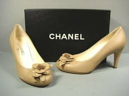 chanel classic beige tan leather round toe camellia pumps heels cc 37 6 5 for