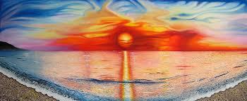 sunset on spanish beach acrylic painting 2o11