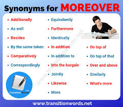 Moreover Synonym List Of 20 Useful Synonyms For Moreover