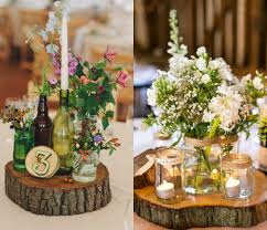 Enjoy natural environment of your wedding with wood slab centerpieces  decoration. You can entertain your guest with tree slices beauty in  different look.
