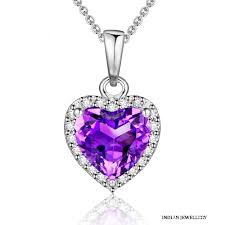 heart shaped natural amethyst pendant expand