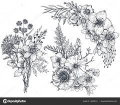 花の組成のセットです花と植物のブーケ ストックベクター