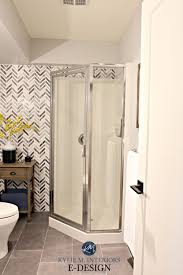 small bathroom corner shower update ideas herringbone marble feature wall tile kylie m