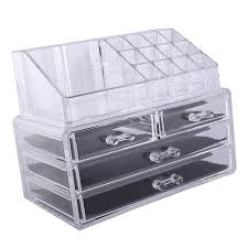multi check and 4 drawers integrated acrylic makeup case cosmetics organizer transpa