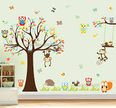 details about jungle animal owl monkey tree wall stickers kids art decor mural decal nursery