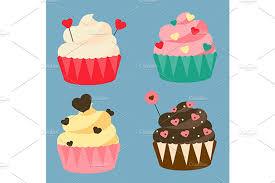 Romantic Love Cupcakes Eps Jpg Png Illustrations Creative Market