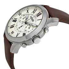fossil grant chronograph egg shell dial brown leather mens watch 691464920807 watch shape