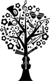 フリーイラスト 楽器の木のシルエット パブリックドメインq著作権