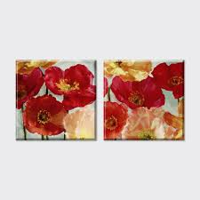 2 piece new american style red poppy flowers pictures oil painting canvas art vintage home decor on the wall for living room in painting calligraphy from