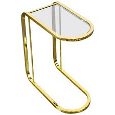 glass cantilever side table