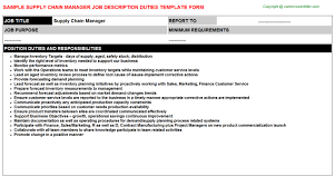 Supply Chain Manager Job Description