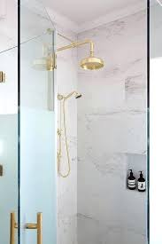 glass shower kit gorgeous master bathroom boasts a frosted glass shower enclosure accented with brass hardware