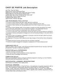 CHEF DE PARTIE Job Description Job Title: Chef De Partie Department: Food &  Beverage ...