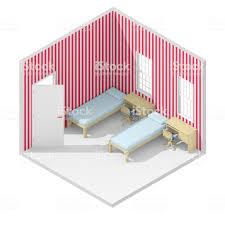 3d Isometrische Weergave Van Dubbele Kind Slaapkamer Met Rood