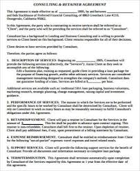retainer consulting agreement 10 sample retainer agreement free sample example format