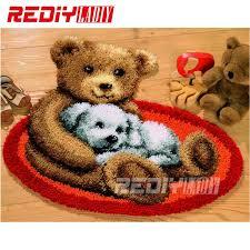 new latch hook rug kits diy needlework unfinished crocheting rug yarn cushion mat embroidery carpet rug
