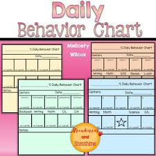 Daily Behavior Charts For Autistic Students Behavior Chart For Students Time On Task Work Completion Positive Behavior