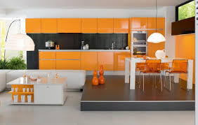 Orange And White Kitchen Orange White Italian Modern Kitchen Design With Stylish Dining Set
