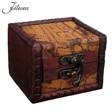 Small Decorative Wooden Boxes Mini Retro Map Pattern Wood Jewelry Storage Box Vintage Small 50