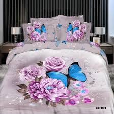 purple rose fl erfly luxury 3d bedding sets queen king size 100 cotton duvet cover fitted sheet set or bed in a bag velvet duvet cover flannel