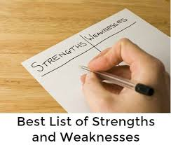 Skills And Strengths List List Of Strengths And Weaknesses