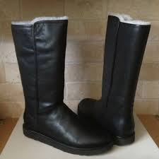 details about ugg abree ii nero black water resistant leather tall boots size us 8 womens
