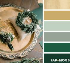 Antique gold and Emerald green winter wedding color palette | fab mood