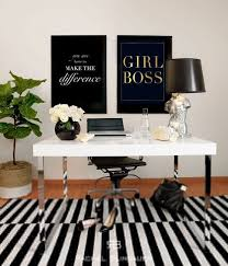 black and white office inspiration girl boss gold foil print and white desk with black chic office interior design