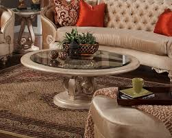 abbyson living havana round leather coffee table gallery table