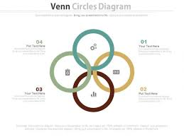 four circle venn diagram four steps venn diagram with business icons powerpoint template