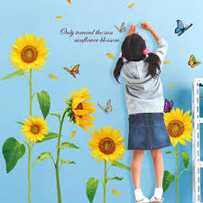 sunshine sunflower butterfly wall stickers dancing in summer beautiful removable wall decor diy kid s child room decor decal in wall stickers from home  on diy sunflower wall art with sunshine sunflower butterfly wall stickers dancing in summer