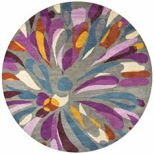 bradberry soft wool cotton round area rug 8 feet grey purple blue yellow modern