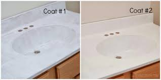 painted bathroom sink and countertop process i m flying south featured on remodelaholic