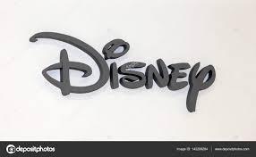ディズニー会社のロゴ看板白い壁に灰色のプラスチックの文字