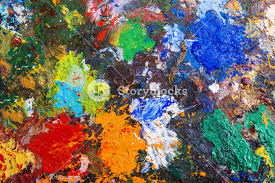 paint pallet background. art palette background with various acrylic paint spots pallet m