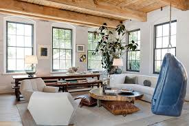 natural wood and painted brick walls create a lovely contrast in the relaxing living room