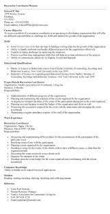 Recreation Programmer Sample Resume