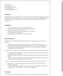 Resume Templates: Client Service Specialist