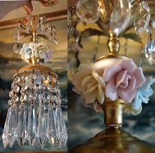 1o3 porcelain rose brass metal tole chandelier swag plugin vintage lamp lighting
