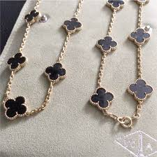 van cleef arpels necklace 18 k yellow gold onyx black alhambra long