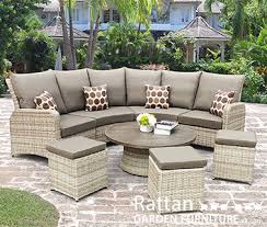 curved light brown rattan corner sofa